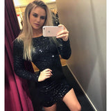 Fashion sexy long-sleeved sequined dress