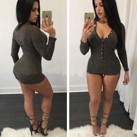 Sexy V-neck long-sleeved knit Jumpsuits