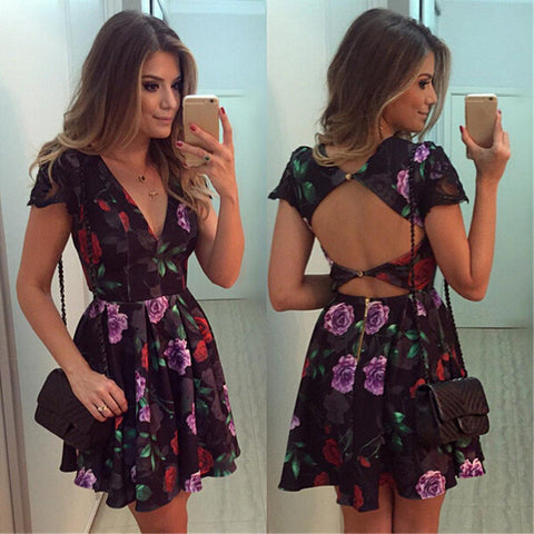 Sexy backless Printed short-sleeved dress