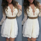 Solid color long-sleeved V-neck lace dress
