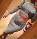 Fashion package hip knit two-piece dress