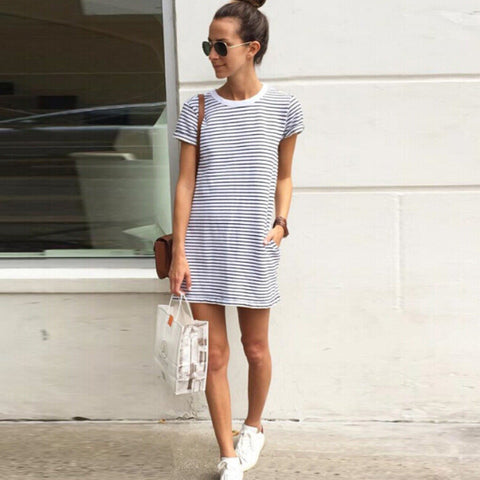 Fashion striped short-sleeved dress