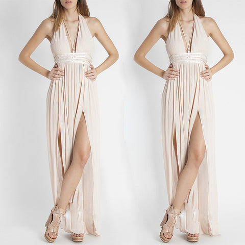 Sexy hanging neck sleeveless package hip dress