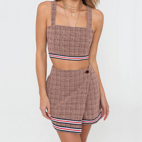 Women's Plaid Two-Piece Backless Dress