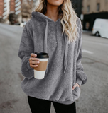 Solid Color Long Sleeve Hooded Sweater
