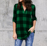 Long Sleeved Loose Plaid Print V-Neck Shirt