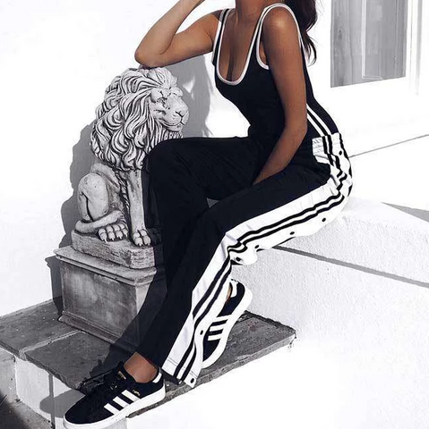 Design Side Split Black and White Striped Trousers