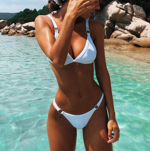Sexy Triangle Bikini Split Swimsuit