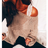 Loose Round Neck Off-Shoulder Sweater Top