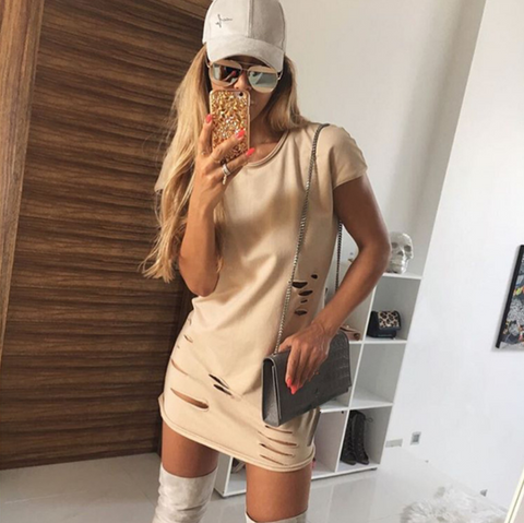 Solid color round neck short sleeve package hip dress