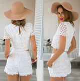 Fashion two-piece lace short-sleeved shorts