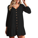 Loose Long Sleeve V-Neck Dress