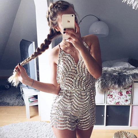 Sexy sequined backless jumpsuit