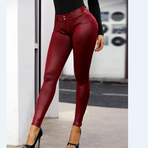 Women Button Detail Coated PU Pants