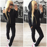 Solid Color Long Sleeves Women'S Two-Piece Pants
