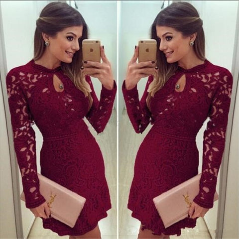 Sexy Round Neck Long Sleeve Lace Dress