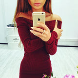 Solid color long-sleeved dress