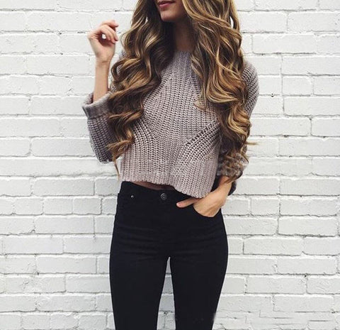 Round Neck Long-Sleeved Knitted Sweater