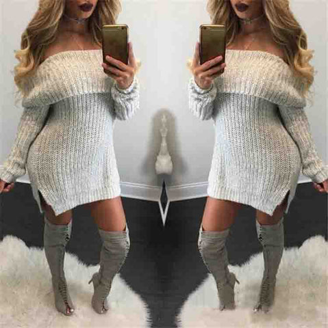 Women'S Fashion One Word Collar Loose Knitted Sweater
