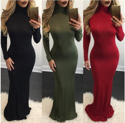 Design high-necked long-sleeved dress