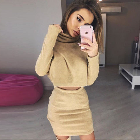 Solid color Long sleeve high-necked two-piece dress