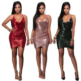 Fashion Sexy V-Neck Sequined Dress