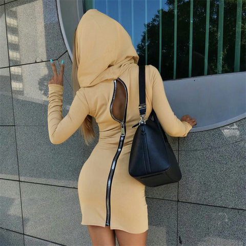 Women's zipper hooded dress