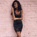 Sexy V-Neck Lace Package Hip Dress