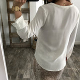 Solid Color Long-Sleeved Chiffon V-Neck Shirt