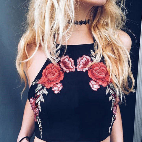 Sexy Sling Embroidered Vest