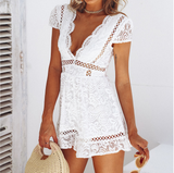 Women's Lace V-neck High Waist Jumpsuit