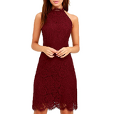 Solid Color Lace Halter Sleeveless Mini-Dress