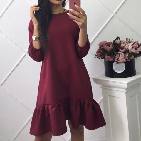 Loose Ruffled Round Neck Long Sleeve Dress