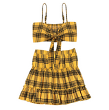 Women's Plaid Vest Sleeveless Bow Two-piece Set
