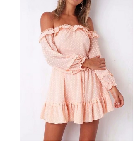 Pink Sexy One-Neckline High-Rise Off-The-Shoulder Dress