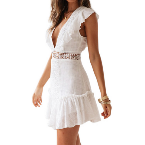 V-Neck White High Waist Dress