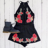 Fashion High Waist Embroidery Jumpsuits