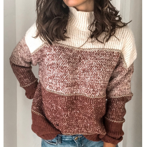 Casual Long Sleeve Stitching Knitted Sweater