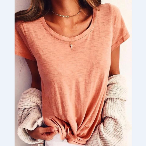 Solid Color Women'S Short Sleeve Round Neck T-Shirt