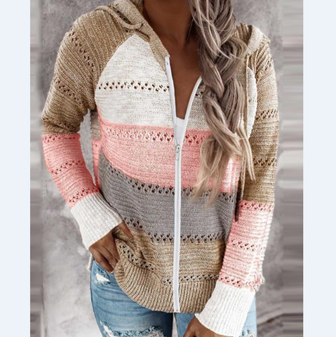 Design Zipper Hooded Long-Sleeved Sweater