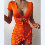 V-Neck Sexy Women'S High Waist Short Sleeve Dress