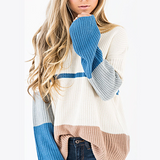 Women'S Fashion Round Neck Knit Long Sleeve Sweater
