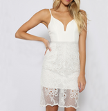 Women'S V-Neck Sling Lace Dress