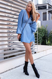 Irregular V-Neck Long Sleeve Dress