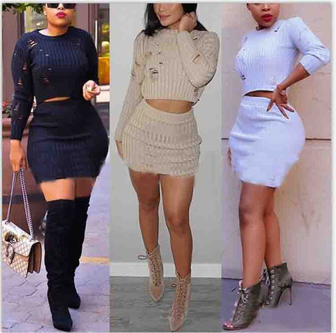 Solid Color Long Sleeve Two Piece Set Dress