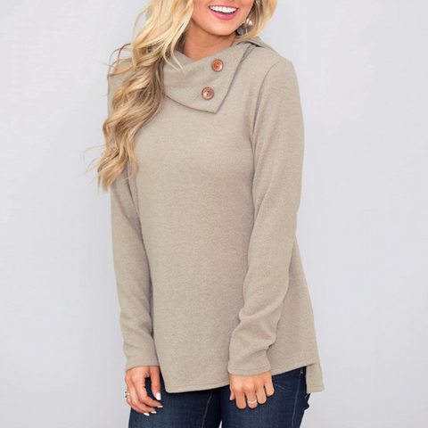 Women'S Casual Solid Color Long-Sleeved T-Shirt