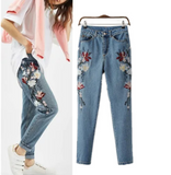 Women'S Fashion Embroidered Denim Trousers