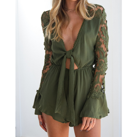 Sexy Long-Sleeved Ruffled Jumpsuit