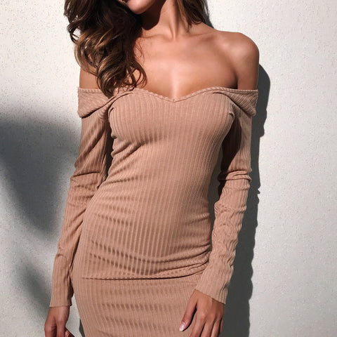 Women'S V-Neck Long-Sleeved Slim Bag Hip Dress