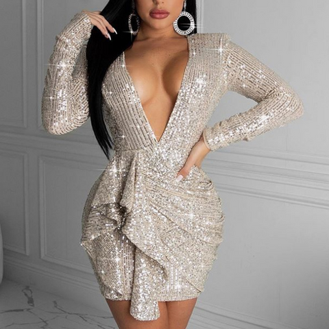 Women'S Deep V-Neck Backless Sequins Package Hip Sexy Dress